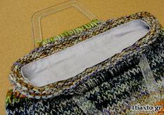 Φόδρα σε πλεκτή τσάντα - ftiaxto.gr Macrame Bag, Bag Making, Knit Crochet, Tote Bag, Knitting, How To Make, Crafts, Bags, Cupcake