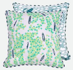 The detailed print on this delicate floor cushion cover features the view of house boats, fishing boats and ferries traversing the complex network of backwaters in Kerala, South India - as seen by the birds that soar overhead.  From the Alleppey Collection