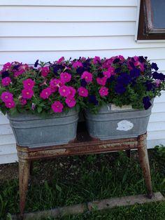 Wash Tub Planter Farmhouse Garden, Farmhouse Decor, Galvanized Wash Tub, Planter Pots, Planter Ideas, Wash Tubs, Container Flowers, Bird Houses, Container Gardening