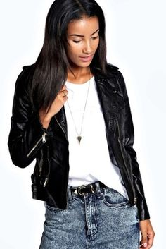 Boohoo Faye Faux Leather Biker Jacket