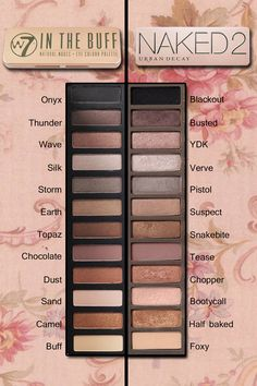 Urban Decay Naked 2 Palette dupe: W7 In the buff Pinterest: @framboesablog