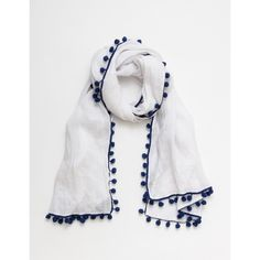 Baby Boden Pom Pom Linen Scarf ($60) ❤ liked on Polyvore featuring accessories, scarves, evening shawl, lightweight scarves, lightweight shawl, holiday scarves and linen scarves