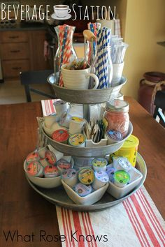 Create a beverage station with a 3 tier galvanized tray!  #coffeeaddict