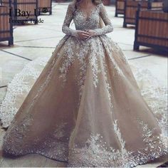 Top Customized Crystal Champange Arab Wedding Dresses 2017 Puffy Shining Stones Arabic Girl Ball Gown Wedding Gowns Mariage