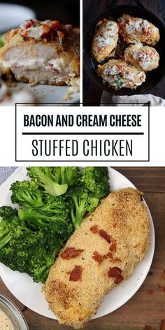 This Bacon and Cream Cheese Stuffed Chicken Breast recipe is perfectly seasoned and bursting with cream cheese, mozzarella, and bacon, a new favorite meal! Chicken Recipes With Cream Cheese, Healthy Cream Cheese, Baked Chicken Recipes, Bacon Recipes, Easy Stuffed Chicken Recipes, Baked Stuffed Chicken, Pepperoni Stuffed Chicken, Roasted Chicken, Mozzarella Stuffed Chicken