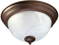 Quorum International 3066-11 2 Light Flushmount Ceiling Fixture with Faux Alabas Oiled Bronze Indoor Lighting Ceiling Fixtures Flush Mount