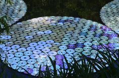 """65,000 """"retired"""" CDs transformed into lily pads."""