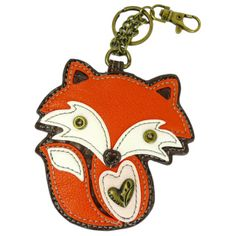 "Chala Key Fob/Coin Purse - Fox Conveniently small, fun and functional.  Hold your keys with style!   Fox with stitches, metal button eyes, and a cute bow Textured faux leather trim Features antique brass toned hardware Materials used: Synthetic Leather   Color: Orange/Brown  Approx. Measurements: 3.5""W x 0.25""D x 5.25""H    Designed in California, USA   Made in China   Colors may not be exactly as pictured. Inside lining patterns may vary."