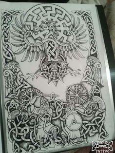 Heidnisches Tattoo, Pagan Tattoo, Norse Tattoo, Back Tattoo, Body Art Tattoos, Tribal Tattoos, Sleeve Tattoos, Viking Symbols, Viking Art