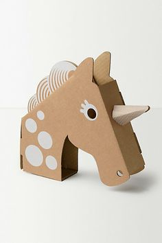 Anthr o unicorn head Cardboard Box Crafts, Cardboard Toys, Paper Toys, Paper Crafts, Kids Crafts, Arts And Crafts, Unicorn Head, Imaginative Play, Creative Kids