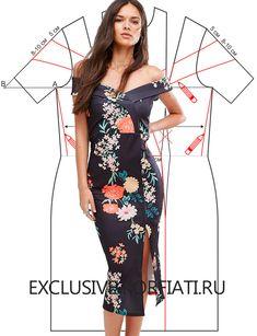 Выкройка платья со спущенными плечами от Анастасии Корфиати