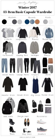 Winter 2017 - 43-Item Basic Capsule Wardrobe // Emily Lightly - capsule wardrobe, slow fashion, minimalist style