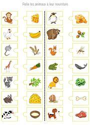 Exercice ludique à imprimer, associer chaque animal à son repas préféré