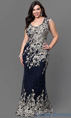 Elizabeth K Floor Length Lace Embellished Gown