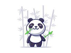 panda loves bamboo 🐼 🍃 by catalyst on Dribbble Panda Images, Bear Images, Cartoon Icons, Cartoon Styles, Cute Panda Cartoon, Dog Vector, Cute Bears, Animal Logo, Logo Images