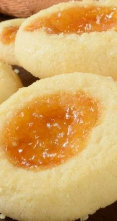 Apricot Cream Cheese Thumbprint Cookies Recipe - A favorite Christmas Cookie Dessert Recipe Candy Cookies, Xmas Cookies, No Bake Cookies, Yummy Cookies, Cupcake Cookies, Chip Cookies, Banana Cupcakes, Cookie Table, Cookie Desserts