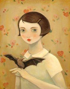 Portrait with Pet Bat. The Black Apple.