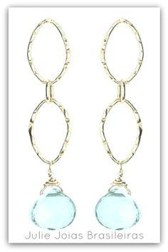Brincos em prata 950 e topázio blue sky (950 silver hoops earrings with blue sky topaz)
