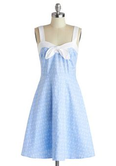 "Lovely Letters Dress, #ModCloth The powdery blue color on this dress is gorgeous! Something about it gives off a ""day at the beach while walking on the board walk hand in hand with your significant other, enjoying a nice ice cream cone"" vibe to it that I just can't ignore. Plus, the white bow trim at the front of the dress just really finishes off the cute sailor girl look to it."