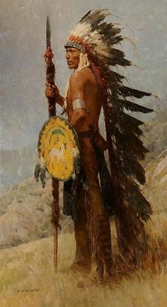 """Cheyenne warrior / Z. Liang """"Strength of Purpose"""" Western art auction at… Native American Girls, Native American Warrior, Native American Pictures, American Indian Art, Native American History, American Indians, Native American Paintings, Native American Artists, Indian Paintings"""