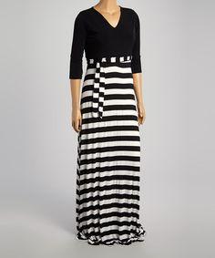 Black & White Stripe Tie-Waist Maxi Dress - Plus #zulilyfinds Not sure about the horizontal stripes but  whatever