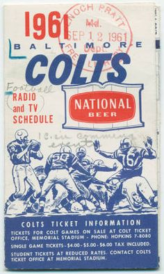 Baltimore Colts: 1961 radio and TV schedule :: Sports in Maryland - Enoch Pratt Free Library