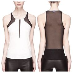 "Helmut Lang Vena Mesh Back Combo Tank M NWT Helmut Lang ""Vena"" combo tank features a white jersey front with black mesh inserts, sheer mesh back.  Size M- measures approx. 17.5"" across bust (pit-to-pit), 26"" long.  NWT, never worn.  Retailed at $295.  No trades. Helmut Lang Tops Tank Tops"