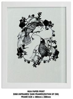 NZ Huia with kowhai botanical detail Kiwiana, Stencil Art, Office Art, Beautiful Birds, Art Inspo, Printmaking, Screen Printing, Illustration Art, Illustrations