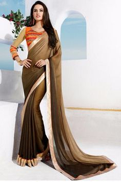 LadyIndia.com #abstract_print Sarees, Brown Partywear Georgette Printed Saree with Blouse Piece, abstract_print Sarees, https://ladyindia.com/collections/ethnic-wear/products/brown-partywear-georgette-printed-saree-with-blouse-piece