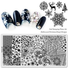Set Template Nail Stamping Plates Flowers Halloween Christmas Cartoon 2018 New Arrival Designs Image Transfer Yesterday's price: US . Christmas Cartoons, Halloween Cartoons, Halloween Christmas, Christmas Nails, Halloween Plates, Christmas Flowers, Nagel Stamping, Drawing Flowers, Painting Flowers