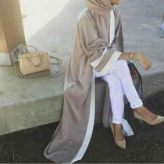 Muslim Womens Stitching Color Islamic Long Dress Abaya with Hijab and Belt Scarf Cardigan, Scarf Dress, Hijab Dress, Hijab Outfit, Kimono Abaya, Abaya Fashion, Muslim Fashion, Mode Kimono, Modele Hijab