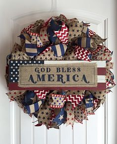 4th of July Wreath, July 4th Wreath, God Bless America Wreath, Patriotic Wreath, Burlap Wreath, July 4th Decor, Patriotic Decor, 4th of July by CharmingBarnBoutique on Etsy