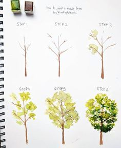 Art Tree drawing in six steps, instructions for easy drawings, drawing for beginners Interesting Fac Watercolor Tips, Watercolour Tutorials, Watercolor Techniques, Watercolor Flowers, Watercolor Paintings, Painting Flowers, Watercolors, Tree Painting Easy, Drawing Techniques