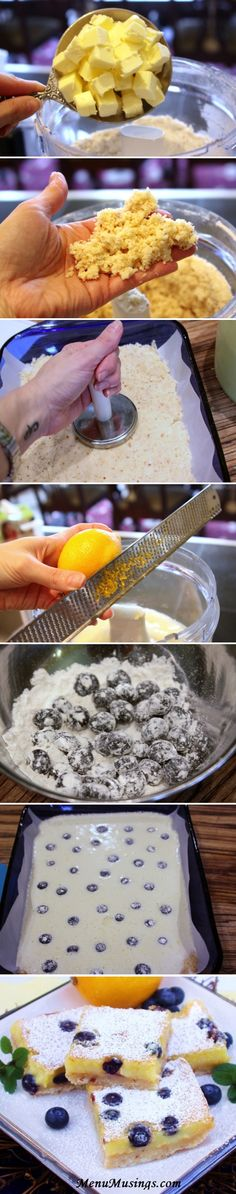 Meyer Lemon Bars made extra special with the addition of fresh blueberries and a toasted coconut shortbread cookie crust!  Oh MY!!!!  Step-by-step photos!!