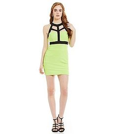 Midnight Doll Cage Top Color Block Sheath Dress