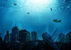 Buildings Skyscrapers Underwater Ocean Shark Fish Great White post apocalyptic dark city cities ruin ruins decay destruction wallpaper