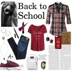 by shockeezril on Polyvore featuring LE3NO, American Eagle Outfitters, Converse, JanSport, Bling Jewelry, Boohoo, BCBGeneration, CellPowerCases, Essie and BackToSchool
