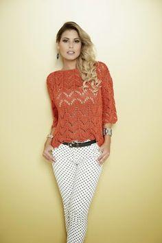 Receita de Tricô: Blusa em trico com fio Precioso