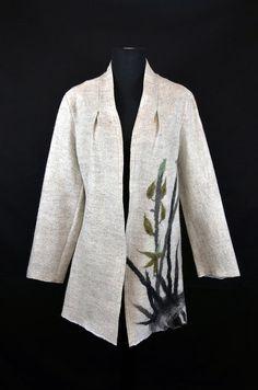Orchid Long Jacket Merino Wool and Silk by JaeHeeFeltedFashions, $450.00