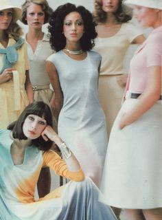 Pat Cleveland center, Angelica Huston bottom left . All models wearing Halston.