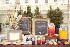 Pancake Bar (but instead a waffle bar) - swoon! Great idea for a bridal shower or brunch Sangria Bar, Mimosa Bar, Mocktail Bar, Brunch Party, Brunch Wedding, Brunch Table, Brunch Menu, Wedding Breakfast, Sleepover Party