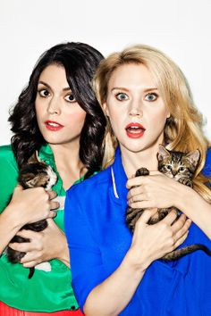 SNL's Cecily Strong and Kate McKinnon...and some kittens. Photo by Meredith Jenkins.