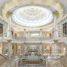 Luxury hall interior design in Dubai from Antonovich Design Hall Interior Design, Mansion Interior, Entrance Design, Luxury Homes Interior, Luxury Home Decor, Interior Ideas, Interior Architecture, Dream Mansion, Luxury Homes Dream Houses