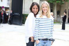 Street looks à la Fashion Week haute couture de Paris, Jour 3 Capucine Safyurtlu, fashion and market editor de Vogue Paris et Jennifer Neyt, responsable éditoriale de Vogue.fr