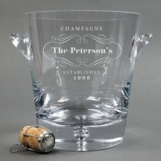 Personalised Crystal Champagne Bucket - Branded Badge | Engraved By Getting Personal