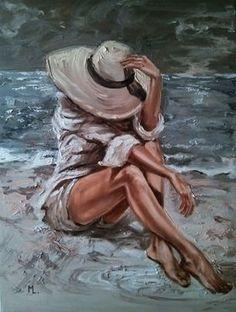 Under my hat sea sand light original oil painting gift palette knife by monika luniak Oil Painting Abstract, Abstract Canvas, Painting & Drawing, Watercolor Art, Canvas Art, Knife Painting, Abstract Portrait, Painting Canvas, Woman Painting