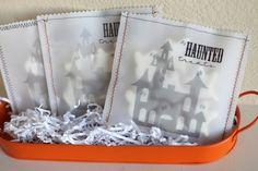 """haunted treats"": mini ghost cookies in printed vellum bags"