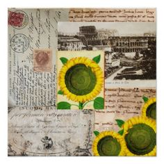 Sunflower Ancient Rome Italian Collage Art Poster