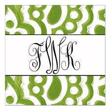 Green Tapestry Monogram Stickers-Picture Perfect,personalized,sticker,label,kids, gift tags,preppy,birthday,present,teacher,friends