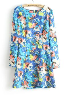 Blue Long Sleeve Oil Painting Print Straight Dress US$32.62